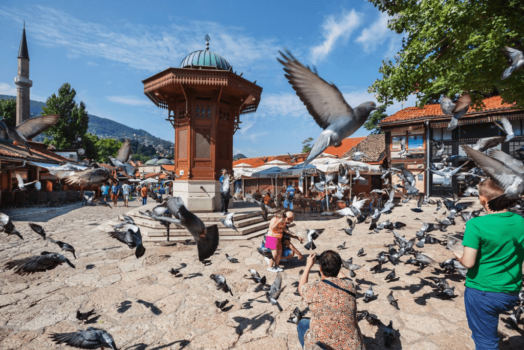 Feeding pigeons at Bascarsija
